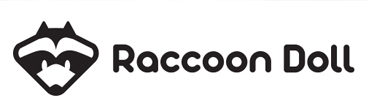 """RACCOON DOLL"" logo and images of major products."
