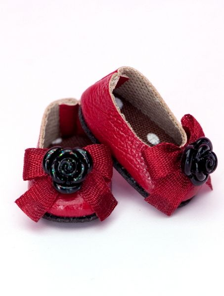 """PS-13 ROSE RIBBON SHOES (Red-Black)"" of the ""FAIRY LAND"", main image."
