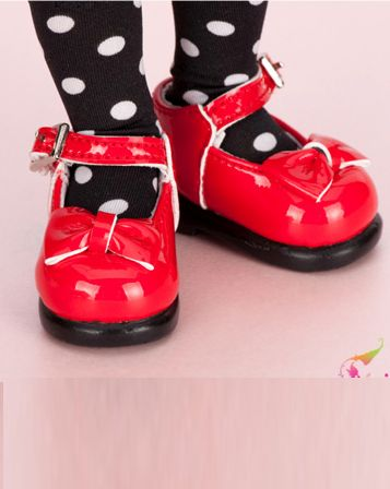 """LS-05 RIBBON SHOES (Red) for LittleFee"" of the ""FAIRY LAND"", main image."